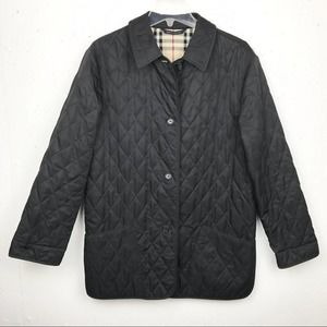 Burberry Diamond Quilted Barn Jacket Black Small